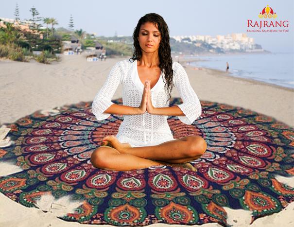 meditation on round mandala tapestry- Rajrang