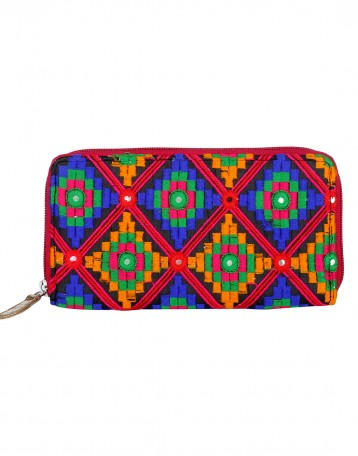 Stylish Cotton Orange Clutch Bag Geometric Embroidered For Womens By Rajrang Bags Accessories