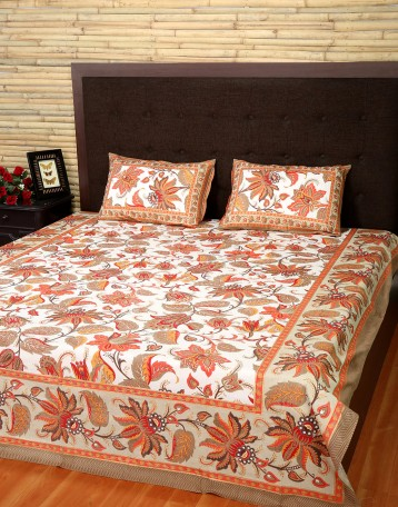 Fl Printed Off White Cotton Bed Sheet Set Of 3 Pcs Online At Rajrang