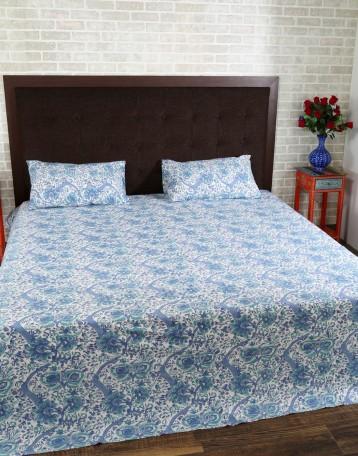 Buy Floral Hand Block Printed White Cotton Bed Sheet (Set Of 3 Pcs) Online  At Rajrang