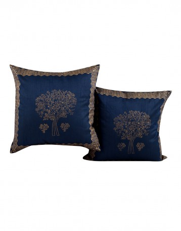 Indian Style Blue Pillow Covers Set Of 2 For Sofa Cases Handmade Designs Polyester Cushion Cover Hand Block Printed Tree