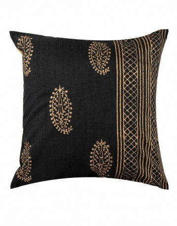 Elegant Pillow Shams Polyester Rajasthani Designs Black Throw