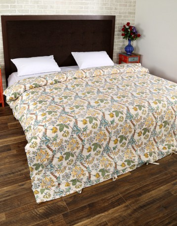 Buy Floral Hand Block Printed Off White Cotton Duvet Cover Online At