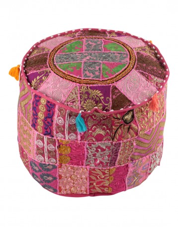 Indian Vintage Patchwork Ottoman Pouf , Indian Living Room Pouf ...