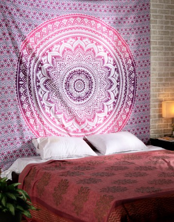 Bohemian Tapestry Wall Hanging white wall hanging | ombre pink wall tapestry | mandala wall tapestry