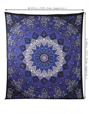 Indian Tapestry Wall Hanging black blue wall tapestry | floral mandala tapestry | hanging wall
