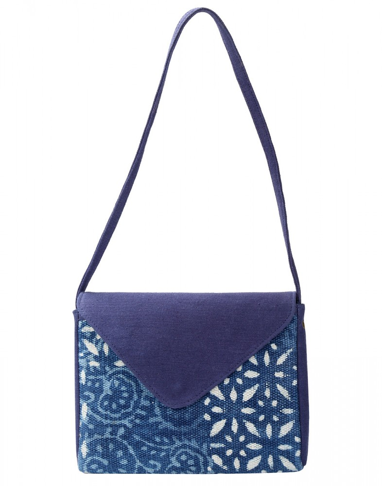 Buy Indigo Dabu Printed Floral Blue Cotton And Durrie Sling Bag ...