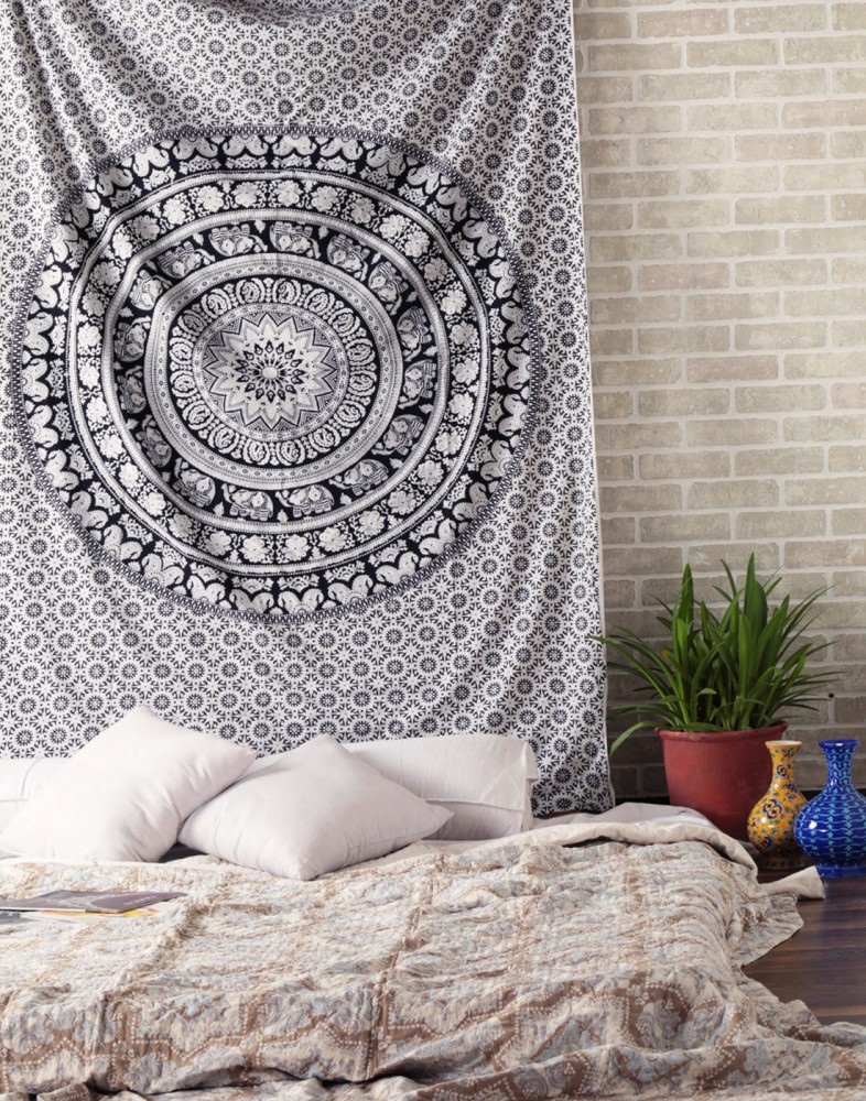 Elephant Mandala Hippie Tapestry Indian Traditional Throw Beach Throw Wall  Art College Dorm Bohemian Wall Hanging Boho Twin Bedspread Black U0026 White