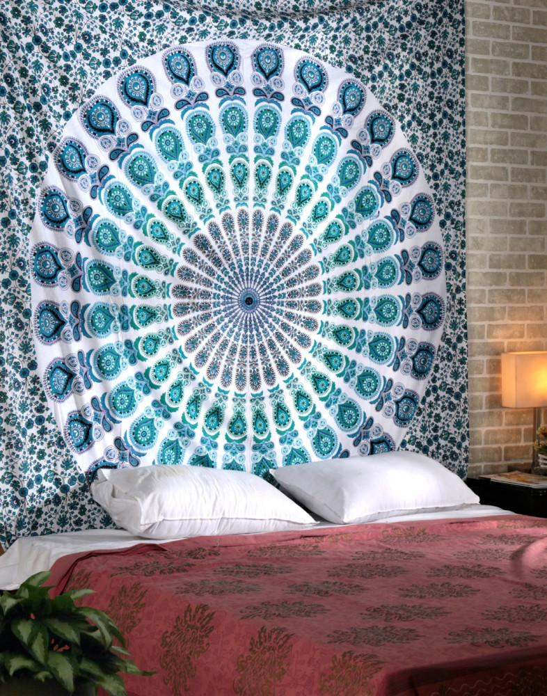 Blue peacock wall tapestry boho wall tapestry mandala for Wallpaper designs for bedroom indian
