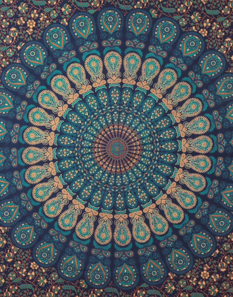 Dark Turquoise Wall Tapestry | Beach Throw Blanket | Beach Sheet