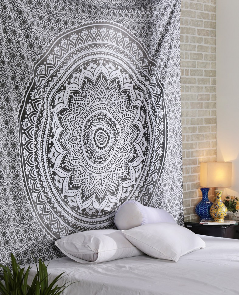 White Gray Ombre Tapestry And Bohemian Ombre Mandala