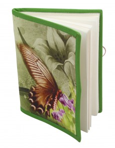 Gift Hand Made Paper & Cotton Printed Butterfly Green Diary