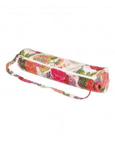 Handmade Yoga Mat Bag White Fruit Kantha Work Cotton