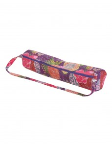 Designer Yoga Mat Bag Violet Fruit Kantha Work Cotton