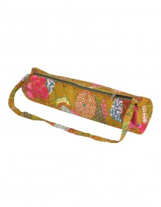 Attractive Yoga Mat Bag Olive Green Fruit Kantha Work Cotton For Women