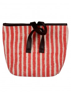 Striped Printed Peach Cotton And Durrie Tote Bag