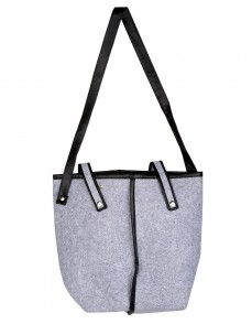 Gray Dyed Solid Felt And Faux Leather Tote Bag