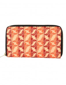 Spring Summer Cotton Beige Clutch Bag Leaves Printed For Womens By Rajrang