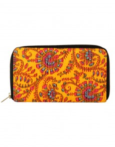 Designer Cotton Yellow Clutch Bag Floral Printed Ladies By Rajrang