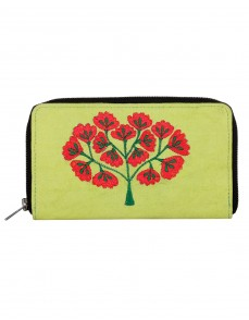 Ethnic Cotton Green Clutch Bag Tree Embroidered For Women By Rajrang