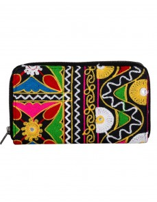 Antique Cotton Black Clutch Bag Floral Embroidered For Women's By Rajrang