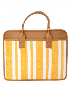Striped Hand Block Printed Cotton And Durrie Yellow Laptop Bag