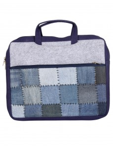 Blue Patch Work Checkered Cotton And Denim Laptop Bag