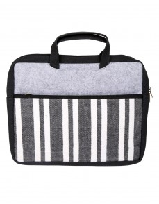 Striped Hand Block Printed Black Cotton And Durrie Laptop Bag