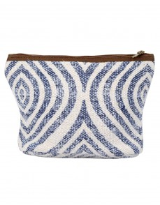 Hand Block Printed Ogee White Cotton And Durrie Pouch