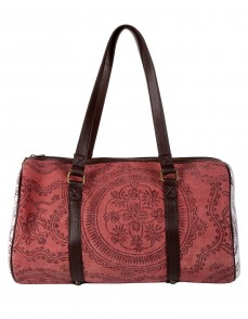 Marsala Hand Block Printed Floral Cotton And Durrie Duffel bag