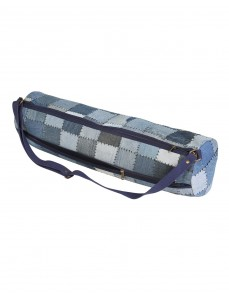 Casual Yoga Mat Bag Cotton & Denim Blue Patchwork Checkered