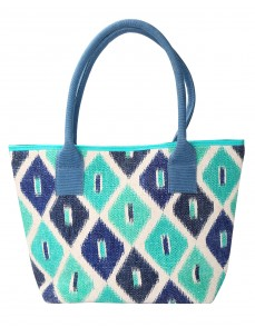 Quatrefoil Hand Block Printed Cotton And Durrie Green Tote Bag