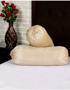 Solid Yarn Dyed Cream Polydupion Bolster Cover (Set Of 2 Pcs)