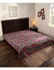 Hand Fruit Printed Cotton Bed Double Bedspread Thread Work