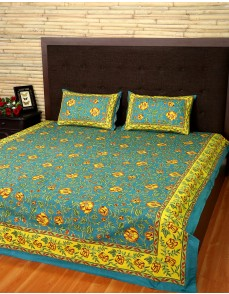 Floral Printed Pine Green Cotton Bed Sheet (Set Of 3 Pcs)
