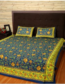 Floral Printed Navy Blue Cotton Bed Sheet (Set Of 3 Pcs)