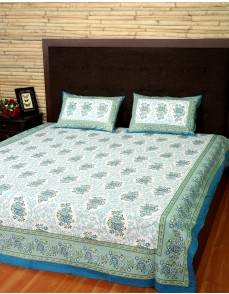 Floral Printed Celadon Green Cotton Bed Sheet (Set Of 3 Pcs)