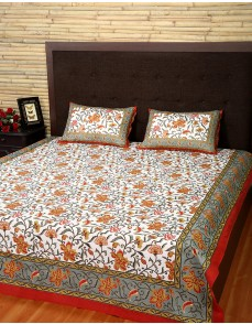 Floral Printed White Cotton Bed Sheet (Set Of 3 Pcs)