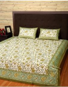 Floral Printed Cream Cotton Bed Sheet (Set Of 3 Pcs)
