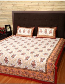 Floral Printed Golden Brown Cotton Bed Sheet (Set Of 3 Pcs)