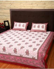 Floral Printed White Cotton Bed Sheet (Set Of 3 Pcs)