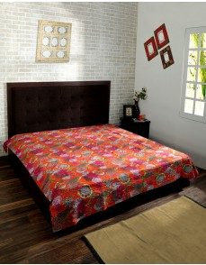 Floral Print Decorative Kantha Stitch Quilt Pure Cotton Reversible Bedspread Orange Gudri Queen Size Bedspread