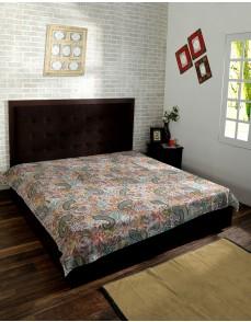 Multicolor Paisley Print e Kantha Quilt , Kantha Blanket, Bed Cover, King Kantha bedspread, Bohemian Bedding Kantha