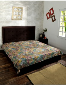 Indian Cotton Bedspread  Floral Print Kantha Stitch