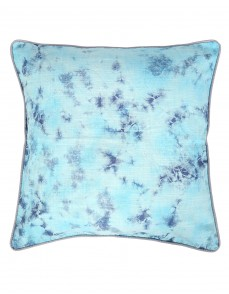 Traditional Abstract Tie Dye Cotton Slub Dark Blue Cushion Cover