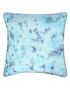 Traditional Abstract Tie Dye Cotton Slub Dark Blue Cushion Cover