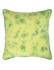 Emerald Green Cotton Slub Abstract Tie Dye Cushion Cover (Single Pc)