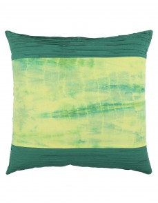 Ethnic Tie Dye Emerald Green Cotton Slub Cushion Cover (Single pcs )