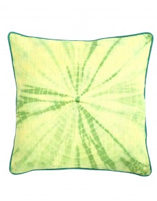 Tie Dye Indian Emerald Green Cotton Slub Cushion Cover (Single pcs )