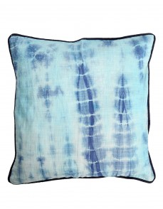 Dark Blue Cotton Slub Abstract Tie Dye Cushion Cover (Single Pc)